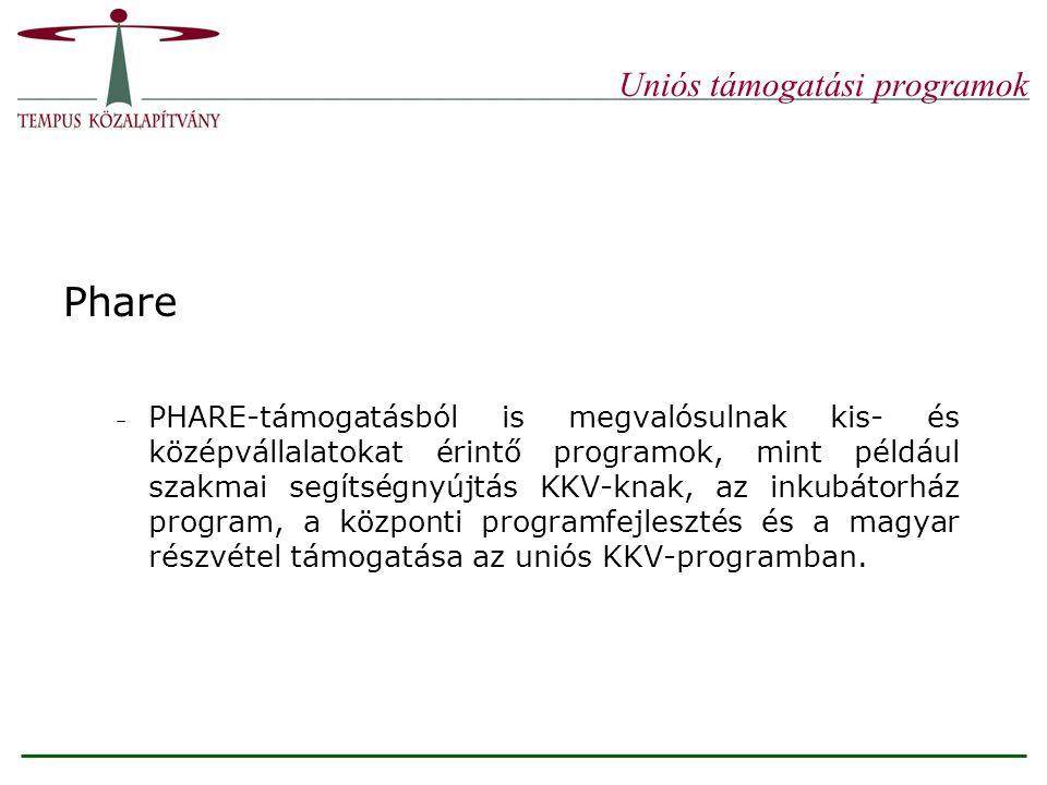 Uniós támogatási programok Phare – PHARE-támogatásból is megvalósulnak kis- és középvállalatokat érintő programok, mint például szakmai segítségnyújtás KKV-knak, az inkubátorház program, a központi programfejlesztés és a magyar részvétel támogatása az uniós KKV-programban.
