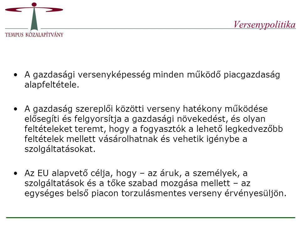 Vállalatokra vonatkozó versenyszabályok A Magyarországon hatályban lévő versenytörvény mind tartalmában, mind szellemében követi a közösségi versenyszabályokat.