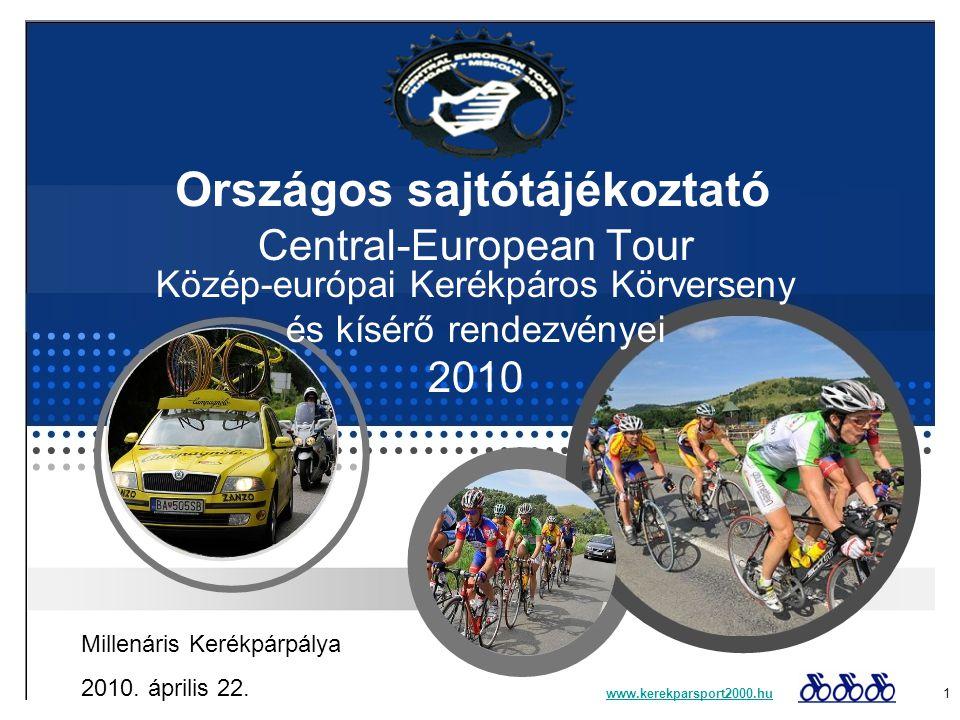 A szervezőről: Az esemény-sorozat szervezője a Kerékpársport 2000 Sportegyesület: Saját országúti kerékpáros csapatot működtet Amatőr kerékpártúrákat- (Békéscsaba-Békés), regionális amatőr kerékpárversenyeket szervez (Bükkszentkereszt hegyi időfutam, Jávorkút kupa, Kovács Károly emlékverseny) Országos amatőr kerékpárversenyeket szervez (Erste Tour Szerencs, Amatőr Időfutam Bajnokság, Nyílt Encsi Kerékpáros Nap, Nyílt Szikszói Kerékpáros Nap) Professzionális versenyeket szervez: - Időfutam Országos Bajnokság - Kosice-Tatry-Kosice nemzetközi kerékpáros körverseny magyar szakasza - Central European Tour – hazánk egyetlen többnapos nemzetközi kerékpáros körversenye - CET Gyomaendrőd Nagydíj UCI 1.2 – kiemelt kategóriás nemzetközi verseny Ismert személyek bevonásával népszerűsíti a sportágat (idén Baumgartner Zsolt és Wojciech Walkiewich UEC elnök által) www.kerekparsport2000.huwww.kerekparsport2000.hu 2