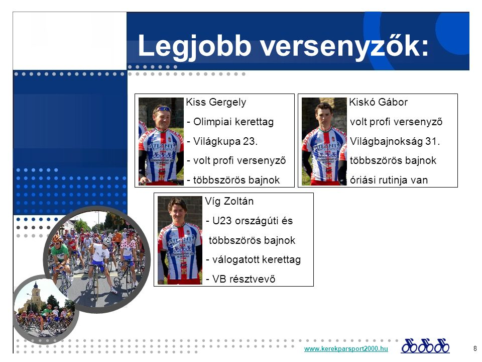 www.kerekparsport2000.huwww.kerekparsport2000.hu 8 Legjobb versenyzők: Kiss Gergely - Olimpiai kerettag - Világkupa 23.