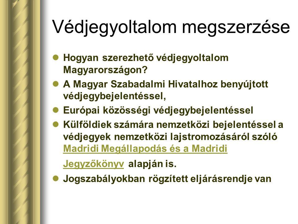 Védjegyoltalom megszerzése Hogyan szerezhető védjegyoltalom Magyarországon? A Magyar Szabadalmi Hivatalhoz benyújtott védjegybejelentéssel, Európai kö
