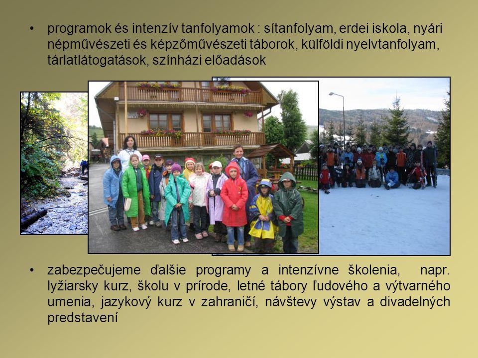 programok és intenzív tanfolyamok : sítanfolyam, erdei iskola, nyári népművészeti és képzőművészeti táborok, külföldi nyelvtanfolyam, tárlatlátogatáso