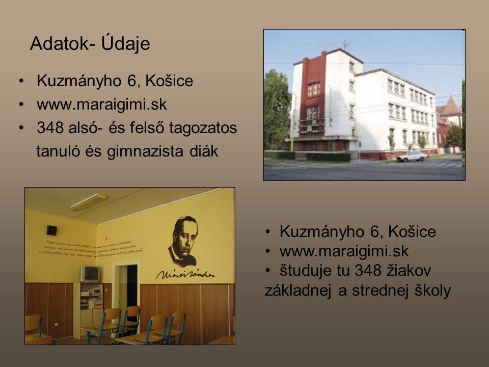 Adatok- Údaje Kuzmányho 6, Košice www.maraigimi.sk 348 alsó- és felső tagozatos tanuló és gimnazista diák Kuzmányho 6, Košice www.maraigimi.sk študuje