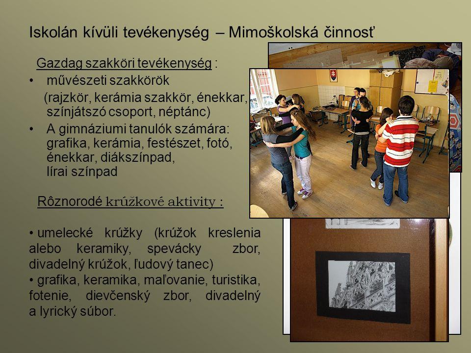 Gazdag szakköri tevékenység : művészeti szakkörök (rajzkör, kerámia szakkör, énekkar, színjátszó csoport, néptánc) A gimnáziumi tanulók számára: grafi