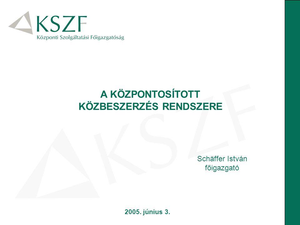 Schäffer István főigazgató A KÖZPONTOSÍTOTT KÖZBESZERZÉS RENDSZERE 2005. június 3.