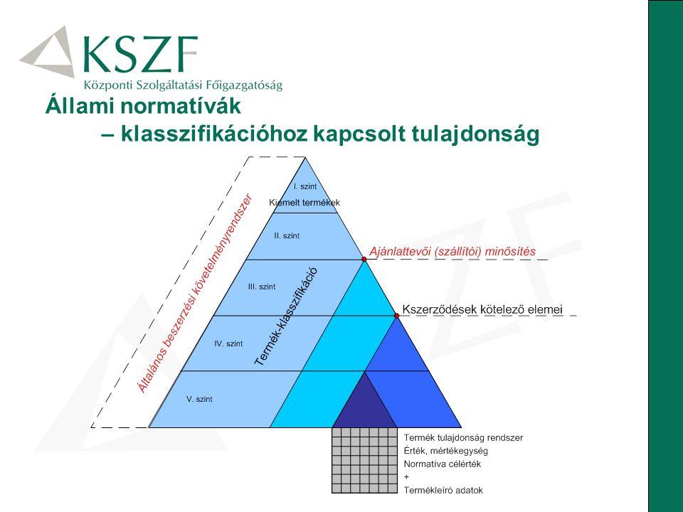 Állami normatívák – klasszifikációhoz kapcsolt tulajdonság