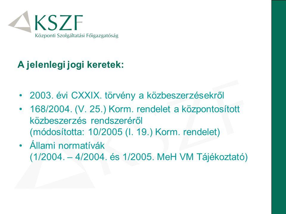 A jelenlegi jogi keretek: 2003. évi CXXIX. törvény a közbeszerzésekről 168/2004. (V. 25.) Korm. rendelet a központosított közbeszerzés rendszeréről (m