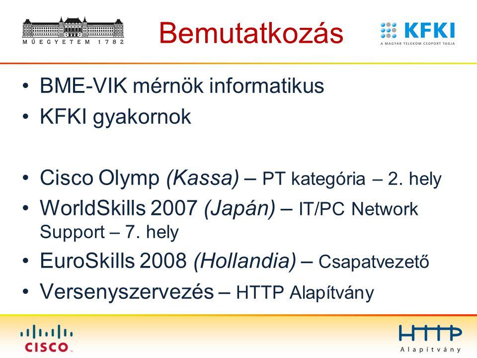 Bemutatkozás BME-VIK mérnök informatikus KFKI gyakornok Cisco Olymp (Kassa) – PT kategória – 2. hely WorldSkills 2007 (Japán) – IT/PC Network Support