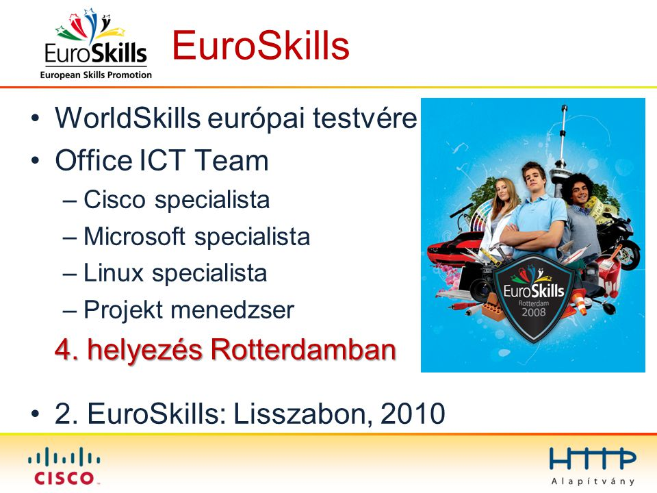 EuroSkills WorldSkills európai testvére Office ICT Team –Cisco specialista –Microsoft specialista –Linux specialista –Projekt menedzser 4. helyezés Ro