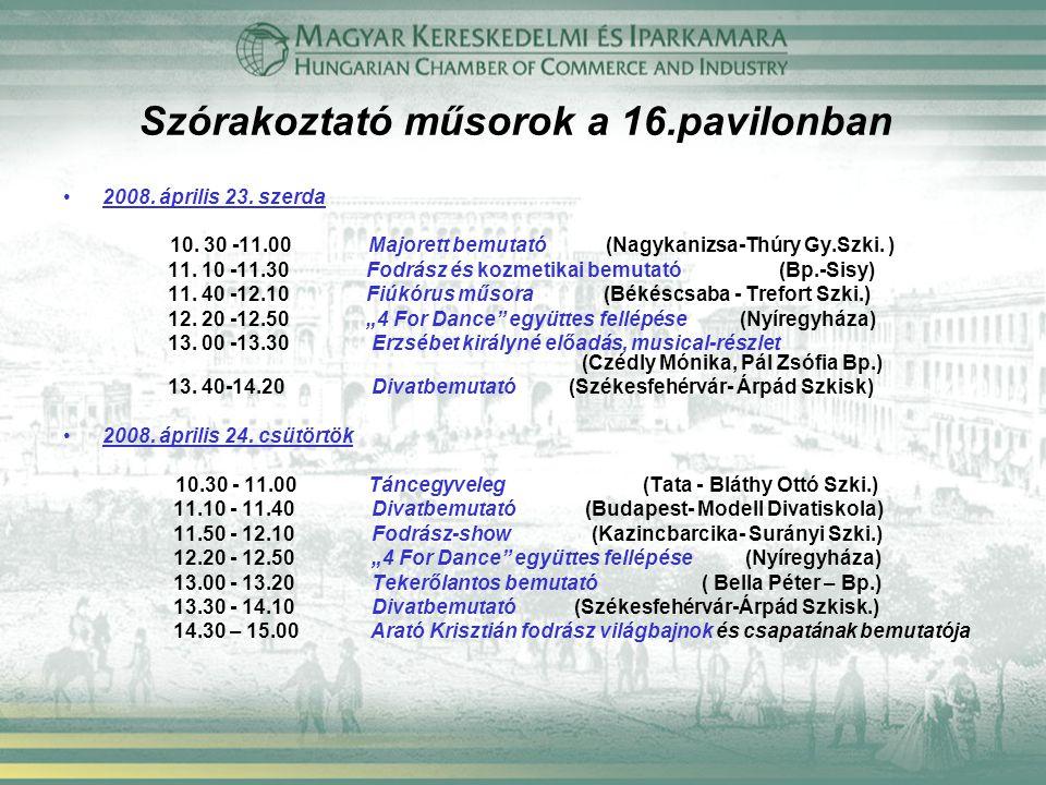 Szórakoztató műsorok a 16.pavilonban 2008. április 23. szerda 10. 30 -11.00 Majorett bemutató (Nagykanizsa-Thúry Gy.Szki. ) 11. 10 -11.30 Fodrász és k