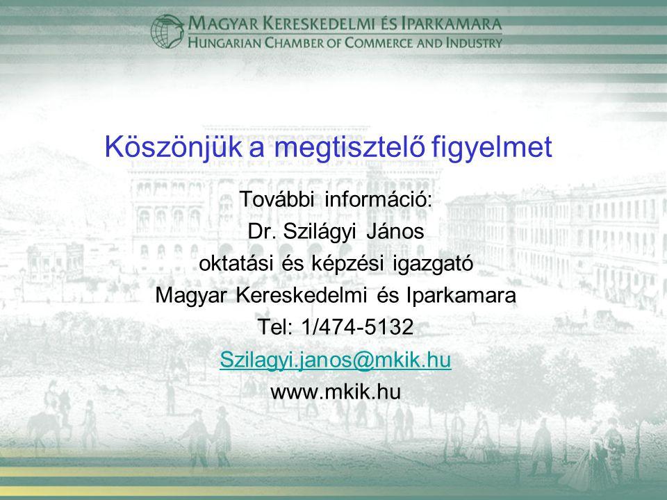 Köszönjük a megtisztelő figyelmet További információ: Dr. Szilágyi János oktatási és képzési igazgató Magyar Kereskedelmi és Iparkamara Tel: 1/474-513