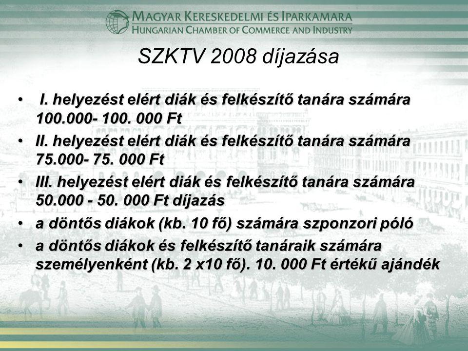 SZKTV 2008 díjazása I. helyezést elért diák és felkészítő tanára számára 100.000- 100. 000 Ft I. helyezést elért diák és felkészítő tanára számára 100