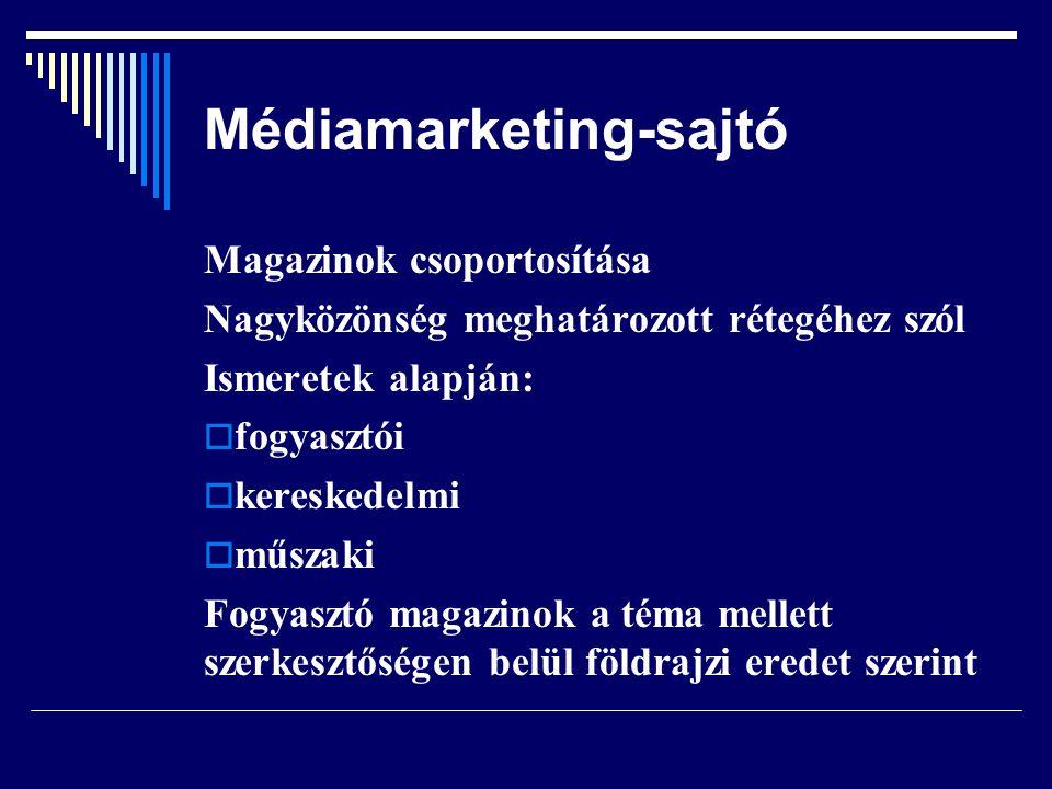 Médiamarketing-sajtó Magazinok csoportosítása Nagyközönség meghatározott rétegéhez szól Ismeretek alapján:  fogyasztói  kereskedelmi  műszaki Fogya