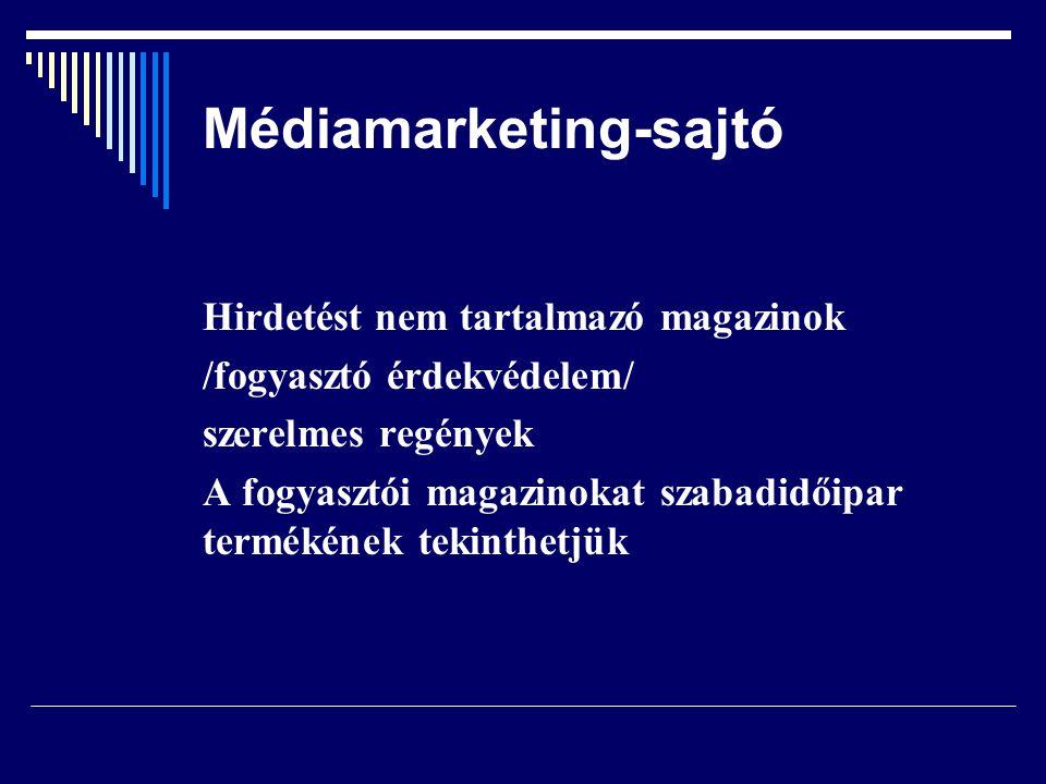 Médiamarketing-sajtó Hirdetést nem tartalmazó magazinok /fogyasztó érdekvédelem/ szerelmes regények A fogyasztói magazinokat szabadidőipar termékének