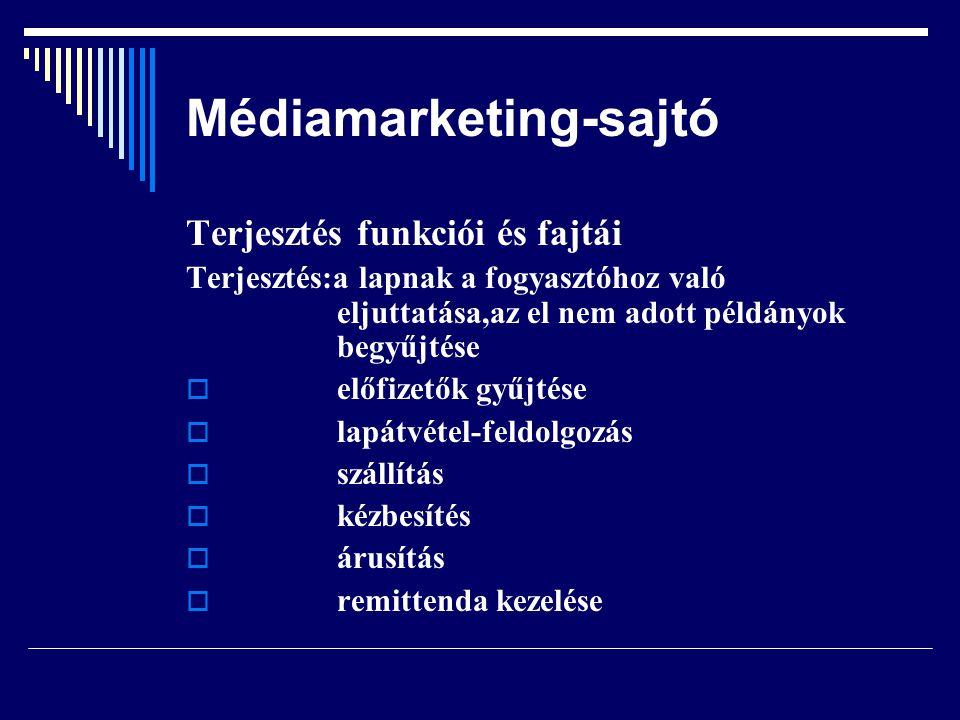 Médiamarketing-sajtó Terjesztés funkciói és fajtái Terjesztés:a lapnak a fogyasztóhoz való eljuttatása,az el nem adott példányok begyűjtése  előfizet