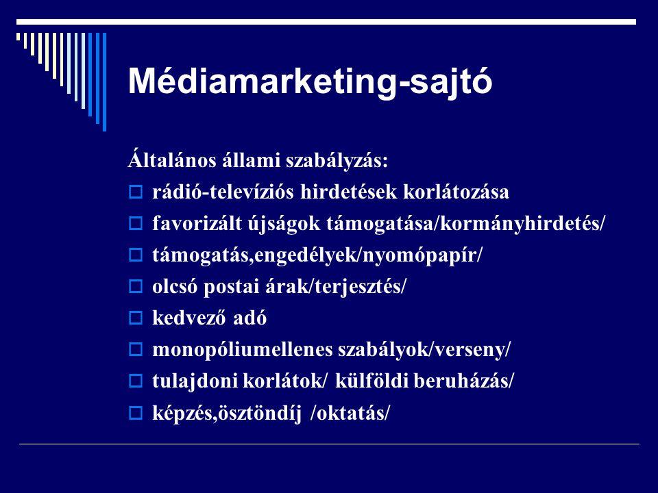 Médiamarketing-sajtó Általános állami szabályzás:  rádió-televíziós hirdetések korlátozása  favorizált újságok támogatása/kormányhirdetés/  támogat