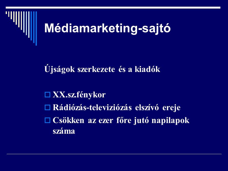 Médiamarketing-sajtó Előállítás sajátosságai  szerkesztés-kisebb létszám a gyakoriság miatt  kiadásuk tőkeigényes  kiadók közepes vagy nagyobb vállalatok a termék kockázata miatt  sikeres kisebb kiadók felvásárlása