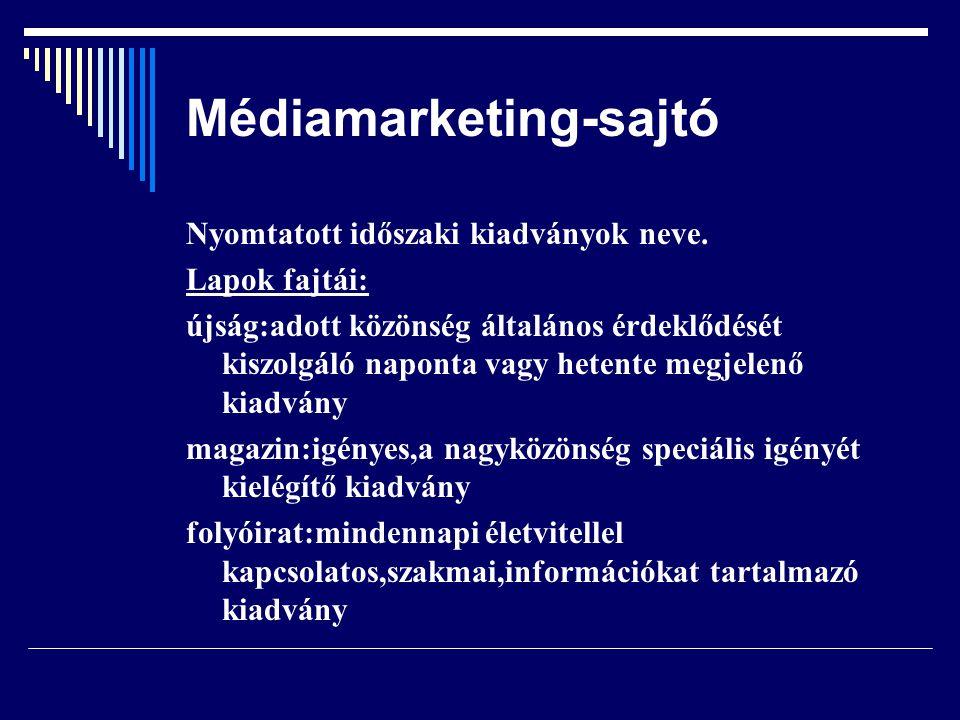 Médiamarketing-sajtó Megjelenés gyakorisága Célközönség Tartalom Technológiai sajátosságok Elemzés az újságra vonatkozik ez viseli az árucikk sajátosságait Új kategória:ingyenes hirdetési újságok