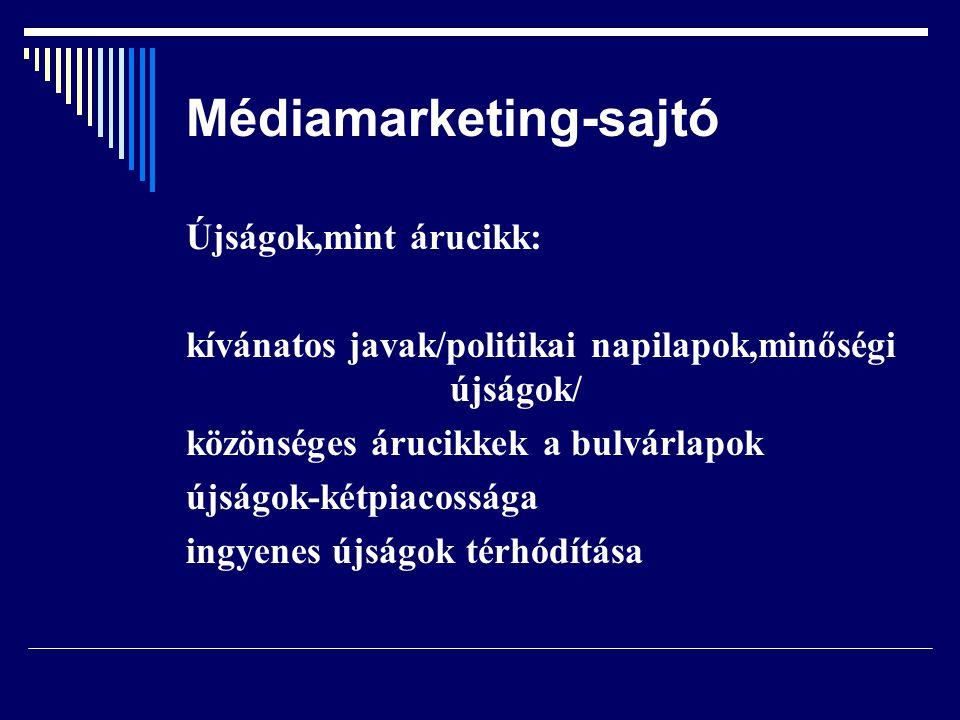 Médiamarketing-sajtó Újságok,mint árucikk: kívánatos javak/politikai napilapok,minőségi újságok/ közönséges árucikkek a bulvárlapok újságok-kétpiacoss