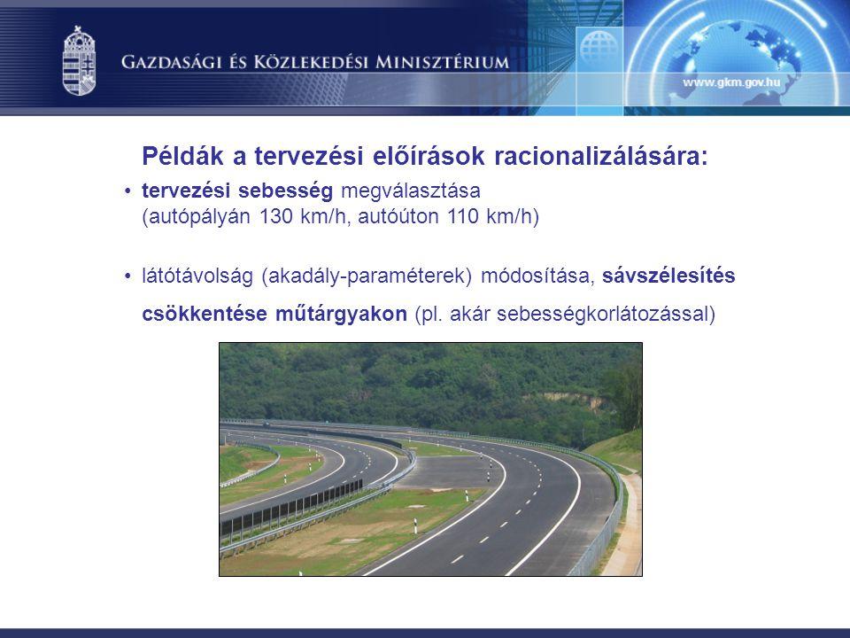 tervezési sebesség megválasztása (autópályán 130 km/h, autóúton 110 km/h) látótávolság (akadály-paraméterek) módosítása, sávszélesítés csökkentése műt