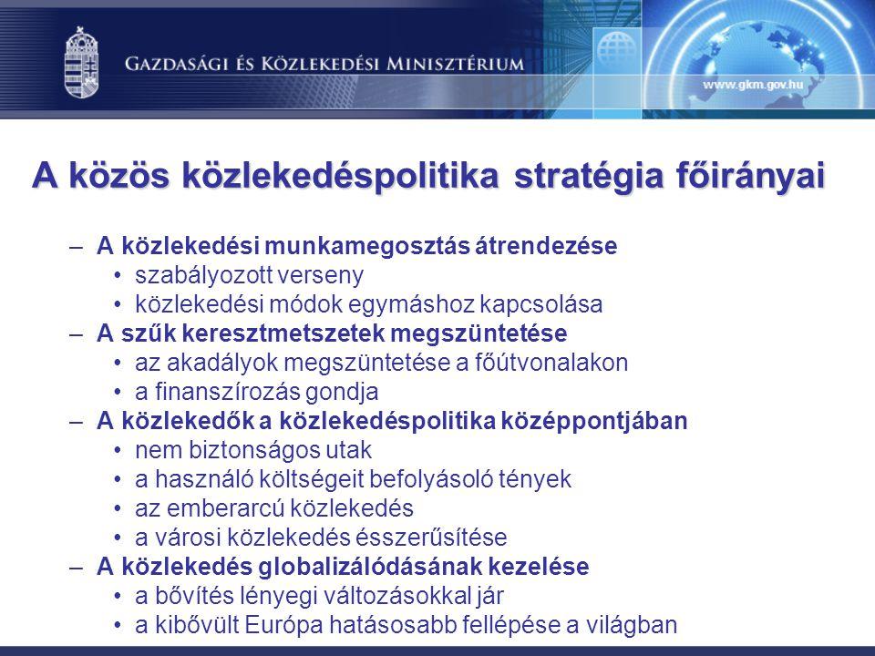 A közös közlekedéspolitika stratégia főirányai –A közlekedési munkamegosztás átrendezése szabályozott verseny közlekedési módok egymáshoz kapcsolása –