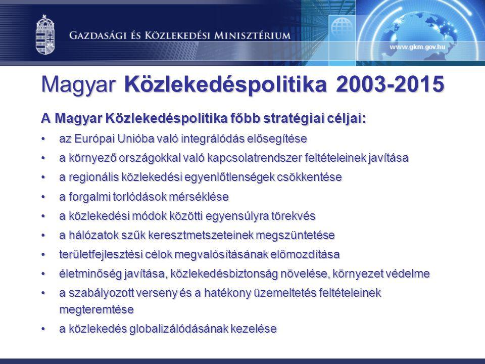 Magyar Közlekedéspolitika 2003-2015 A Magyar Közlekedéspolitika főbb stratégiai céljai: az Európai Unióba való integrálódás elősegítéseaz Európai Unió