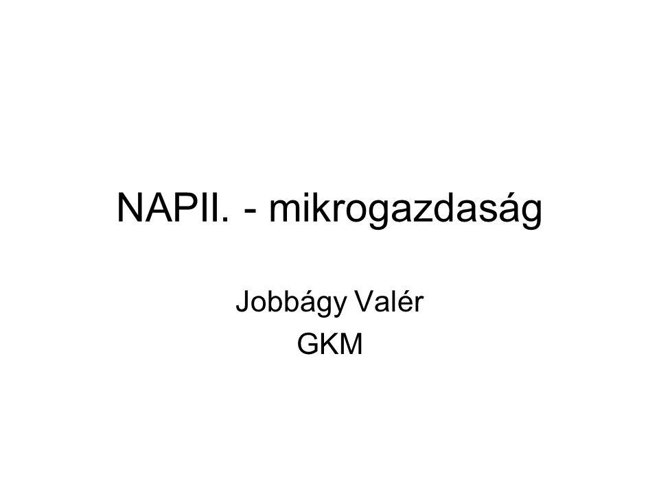 NAPII. - mikrogazdaság Jobbágy Valér GKM