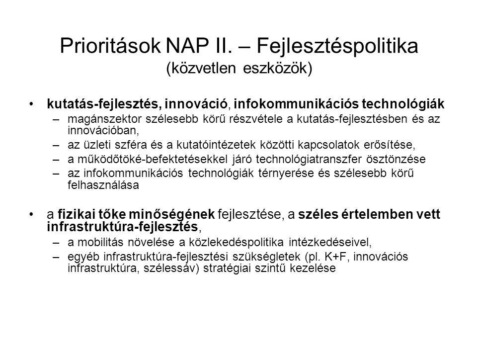Prioritások NAP II. – Fejlesztéspolitika (közvetlen eszközök) kutatás-fejlesztés, innováció, infokommunikációs technológiák –magánszektor szélesebb kö