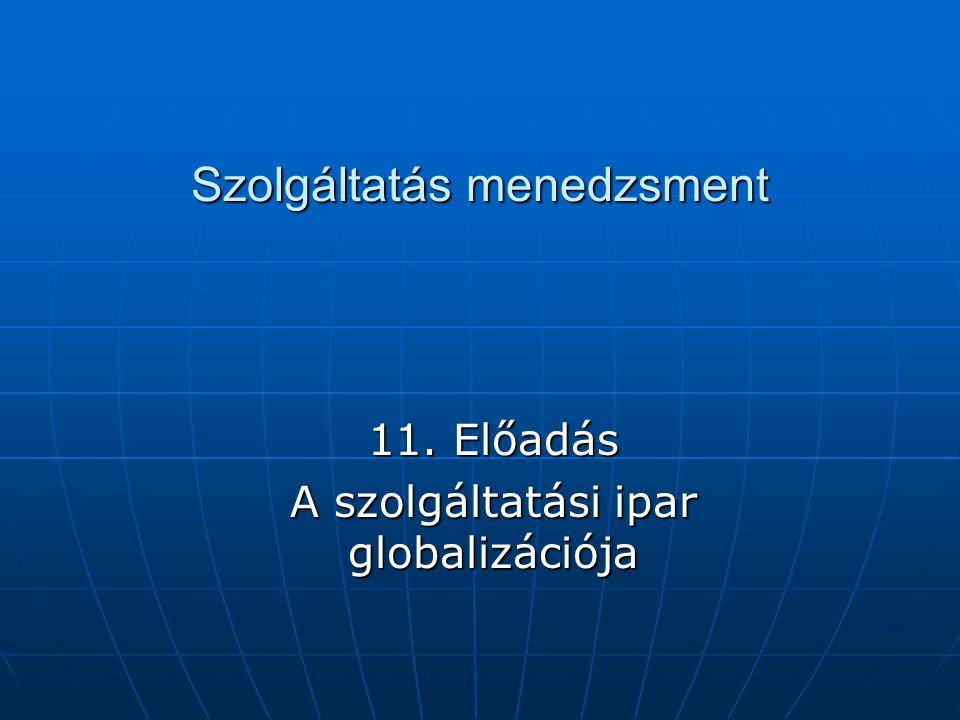 Szolgáltatás menedzsment 11. Előadás A szolgáltatási ipar globalizációja
