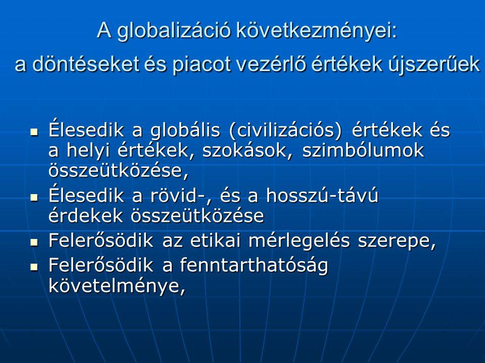 A globalizáció következményei: a döntéseket és piacot vezérlő értékek újszerűek Élesedik a globális (civilizációs) értékek és a helyi értékek, szokáso