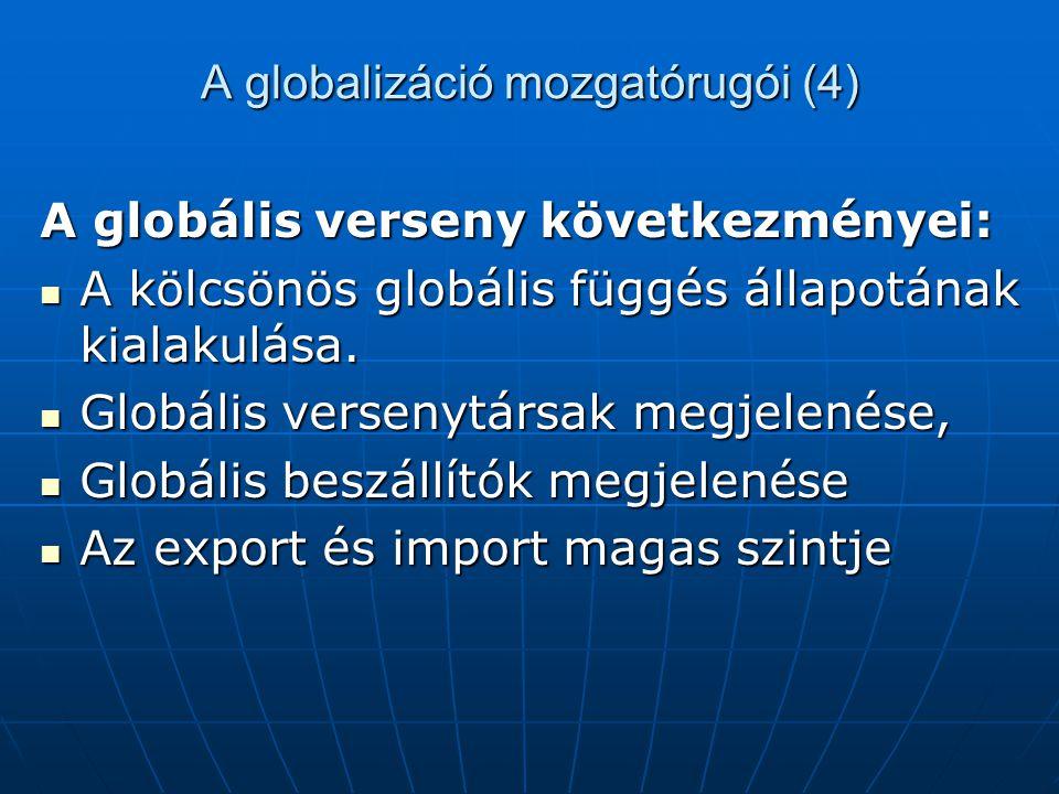 A globalizáció mozgatórugói (4) A globális verseny következményei: A kölcsönös globális függés állapotának kialakulása. A kölcsönös globális függés ál