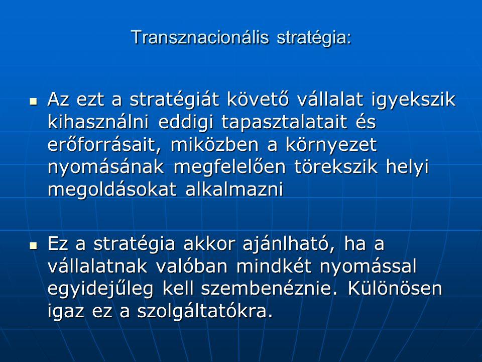 Transznacionális stratégia: Az ezt a stratégiát követő vállalat igyekszik kihasználni eddigi tapasztalatait és erőforrásait, miközben a környezet nyom