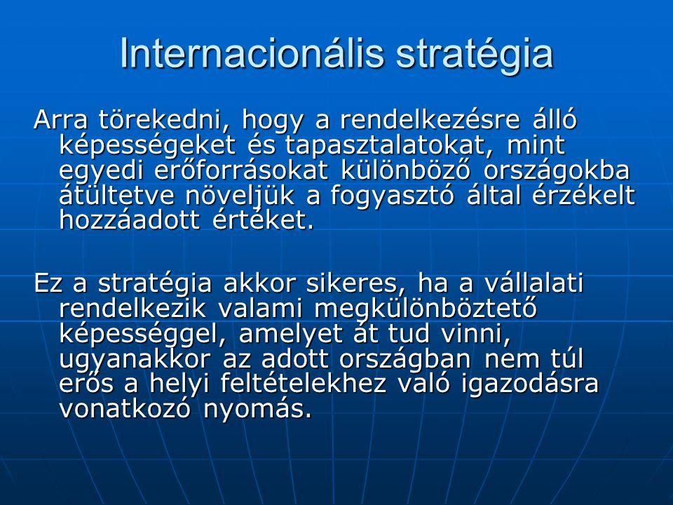 Internacionális stratégia Arra törekedni, hogy a rendelkezésre álló képességeket és tapasztalatokat, mint egyedi erőforrásokat különböző országokba át