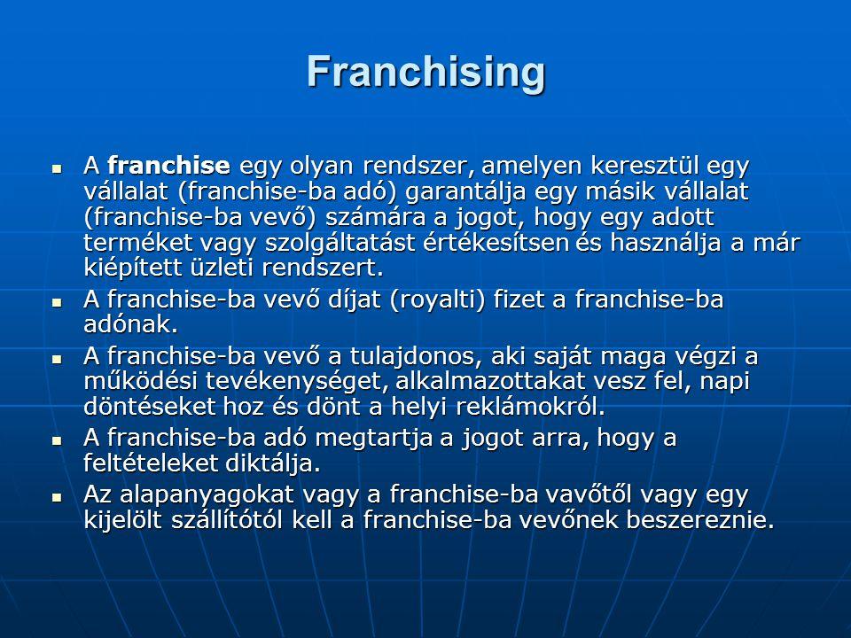 Franchising A franchise egy olyan rendszer, amelyen keresztül egy vállalat (franchise-ba adó) garantálja egy másik vállalat (franchise-ba vevő) számár