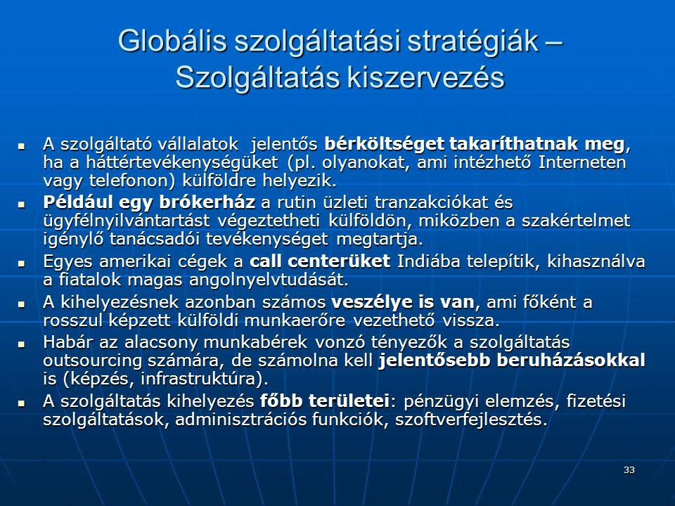 33 Globális szolgáltatási stratégiák – Szolgáltatás kiszervezés A szolgáltató vállalatok jelentős bérköltséget takaríthatnak meg, ha a háttértevékenys