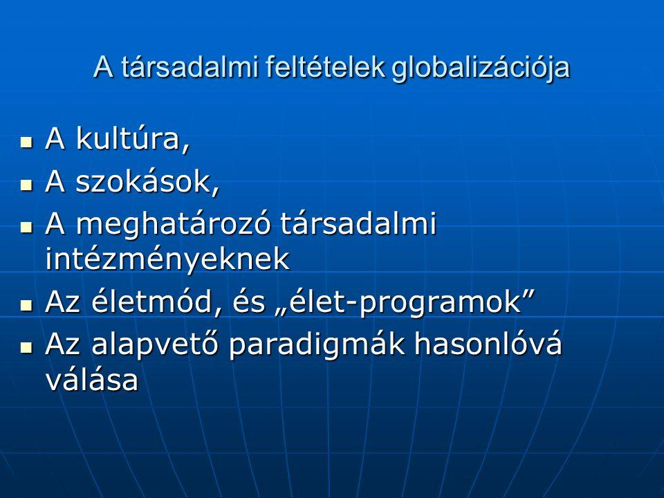 A társadalmi feltételek globalizációja A kultúra, A kultúra, A szokások, A szokások, A meghatározó társadalmi intézményeknek A meghatározó társadalmi