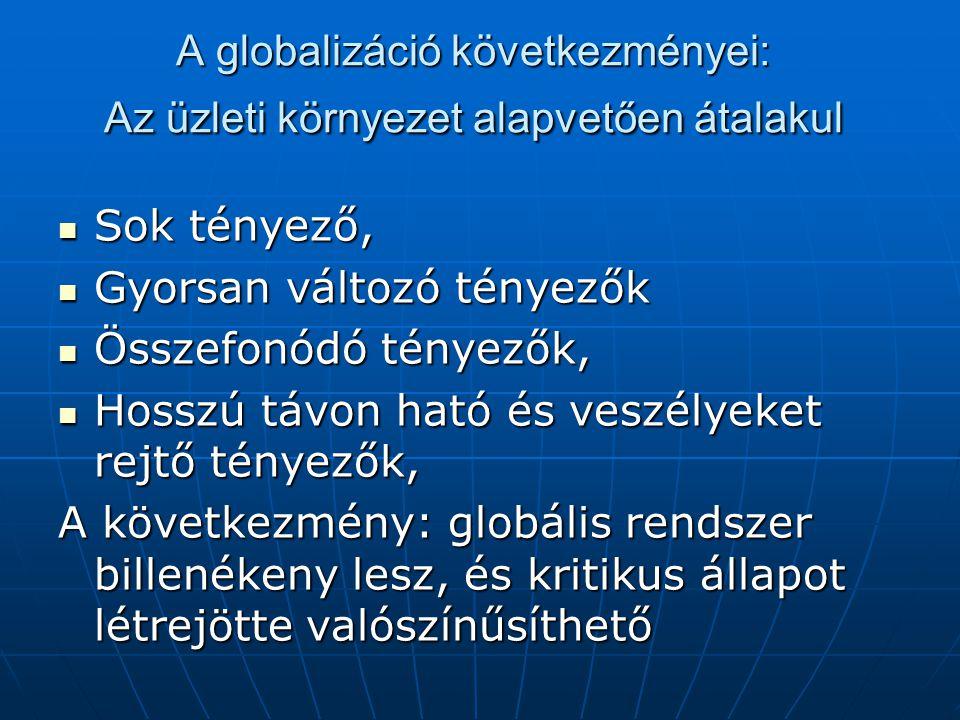 A globalizáció következményei: a döntéseket és piacot vezérlő értékek újszerűek Élesedik a globális (civilizációs) értékek és a helyi értékek, szokások, szimbólumok összeütközése, Élesedik a globális (civilizációs) értékek és a helyi értékek, szokások, szimbólumok összeütközése, Élesedik a rövid-, és a hosszú-távú érdekek összeütközése Élesedik a rövid-, és a hosszú-távú érdekek összeütközése Felerősödik az etikai mérlegelés szerepe, Felerősödik az etikai mérlegelés szerepe, Felerősödik a fenntarthatóság követelménye, Felerősödik a fenntarthatóság követelménye,