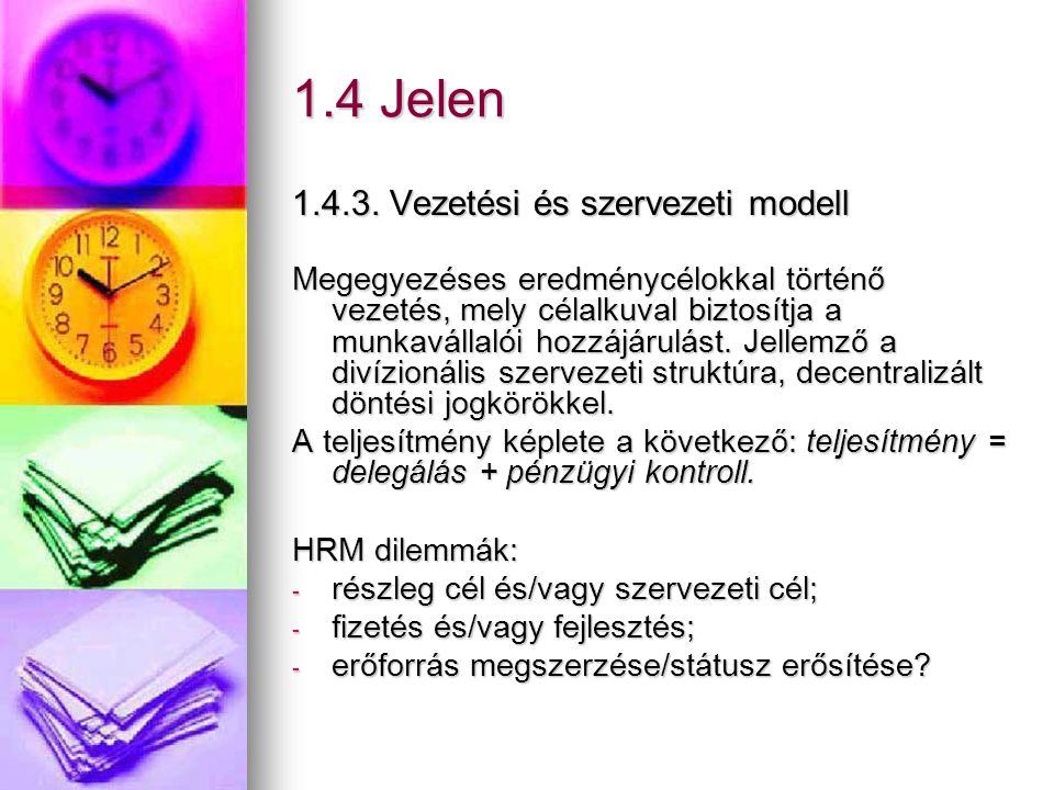 1.4 Jelen 1.4.3. Vezetési és szervezeti modell Megegyezéses eredménycélokkal történő vezetés, mely célalkuval biztosítja a munkavállalói hozzájárulást