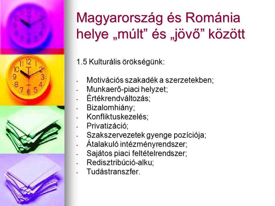"""Magyarország és Románia helye """"múlt"""" és """"jövő"""" között 1.5 Kulturális örökségünk: - Motivációs szakadék a szerzetekben; - Munkaerő-piaci helyzet; - Ért"""