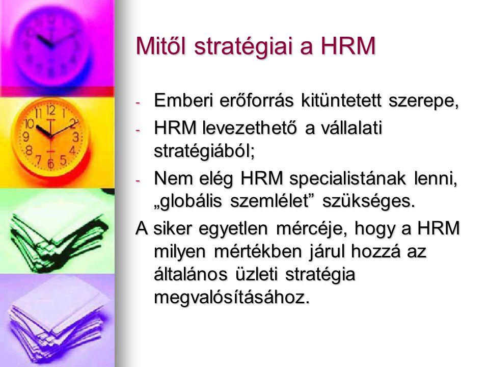 Stratégiai HRM szemlélet következményei - A HRM funkció közvetlenül is stratégiává válik; - HRM vezetők helyet kapnak a legszűkebb stratégiai team-ben; - HRM problematikák helyett a szervezet egésze üzleti stratégiájára vonatkozó szemléletmód kerül előtérbe; - A stratégiai team többi tagjának is el kell sajátítania bizonyos stratégiai HRM szemléletet.