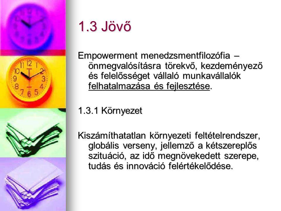 1.3 Jövő Empowerment menedzsmentfilozófia – önmegvalósításra törekvő, kezdeményező és felelősséget vállaló munkavállalók felhatalmazása és fejlesztése