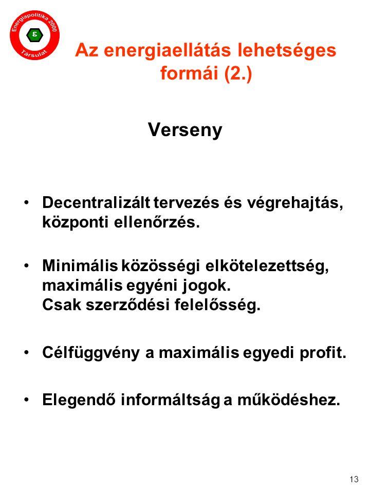 13 Az energiaellátás lehetséges formái (2.) Verseny Decentralizált tervezés és végrehajtás, központi ellenőrzés. Minimális közösségi elkötelezettség