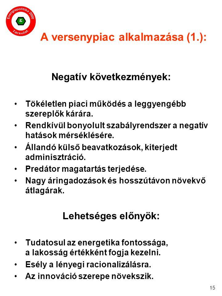  15 A versenypiac alkalmazása (1.): Negatív következmények: Tökéletlen piaci működés a leggyengébb szereplők kárára. Rendkívül bonyolult szabályrends
