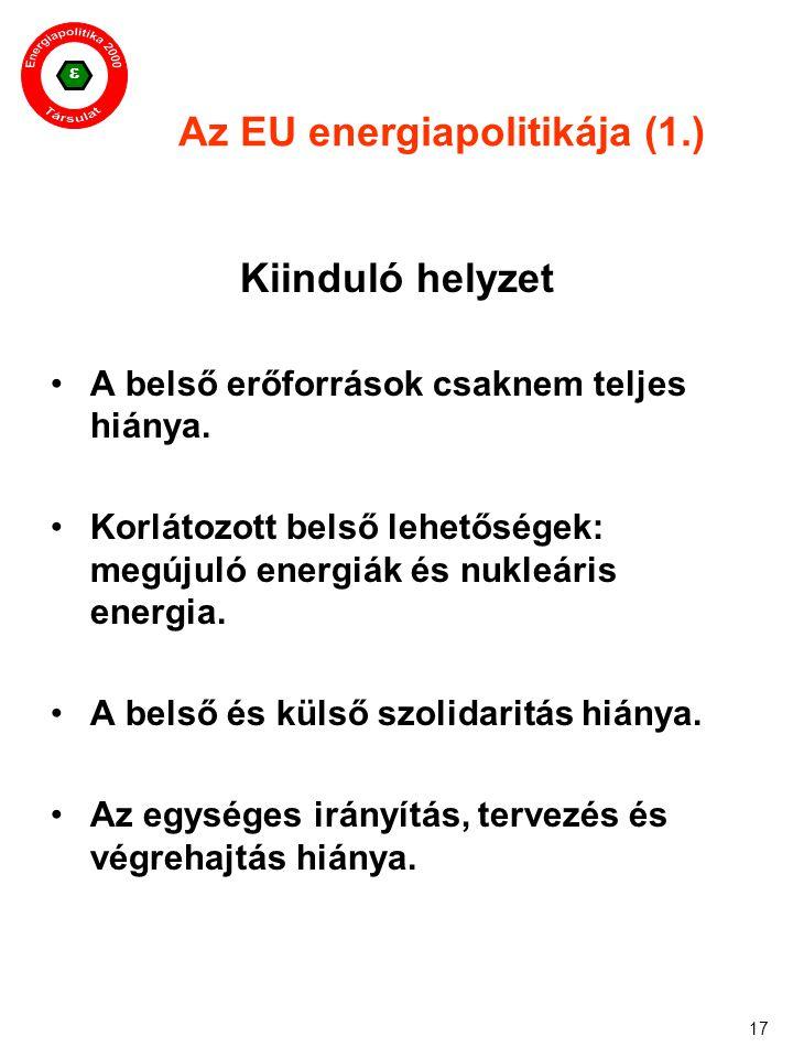  17 Az EU energiapolitikája (1.) Kiinduló helyzet A belső erőforrások csaknem teljes hiánya. Korlátozott belső lehetőségek: megújuló energiák és nukl