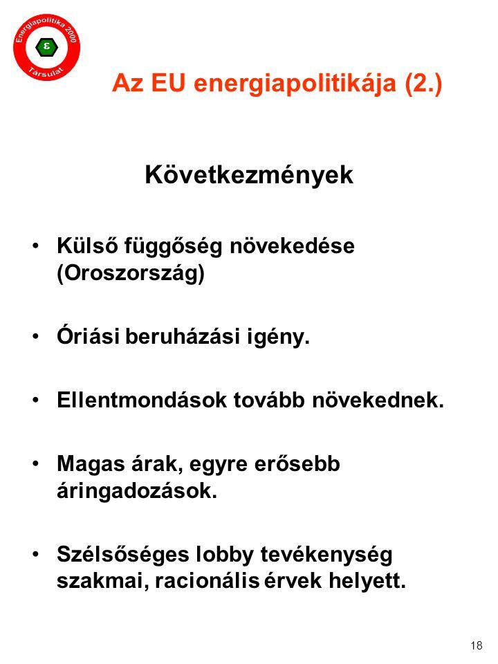  18 Az EU energiapolitikája (2.) Következmények Külső függőség növekedése (Oroszország) Óriási beruházási igény. Ellentmondások tovább növekednek. Ma