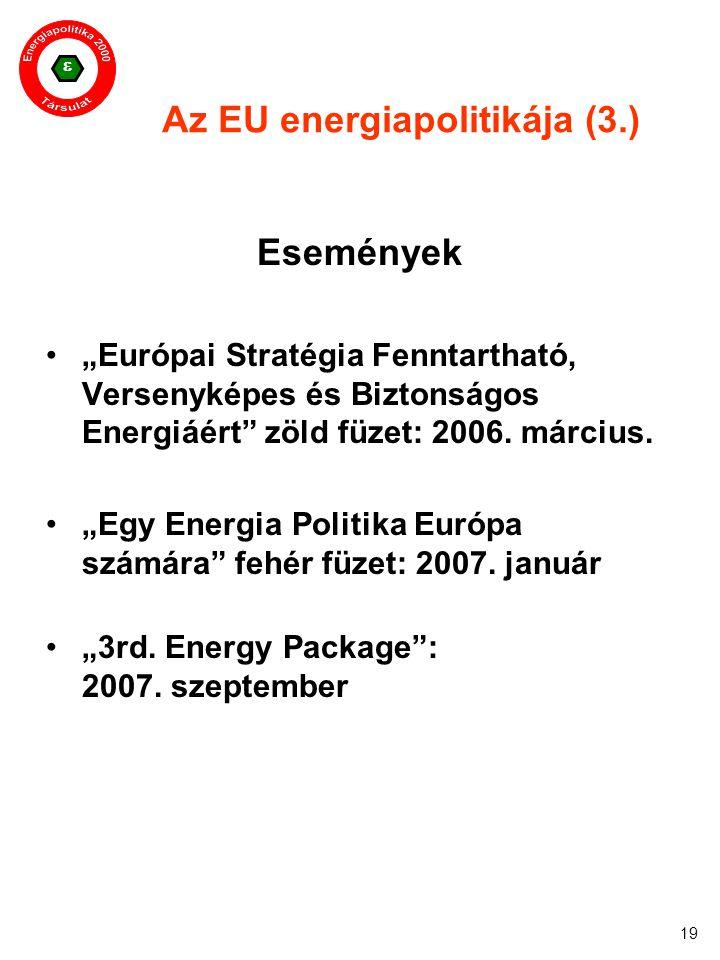 """ 19 Az EU energiapolitikája (3.) Események """"Európai Stratégia Fenntartható, Versenyképes és Biztonságos Energiáért"""" zöld füzet: 2006. március. """"Egy E"""