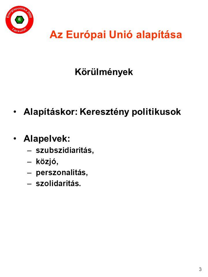  3 Az Európai Unió alapítása Körülmények Alapításkor: Keresztény politikusok Alapelvek: –szubszidiaritás, –közjó, –perszonalitás, –szolidaritás.