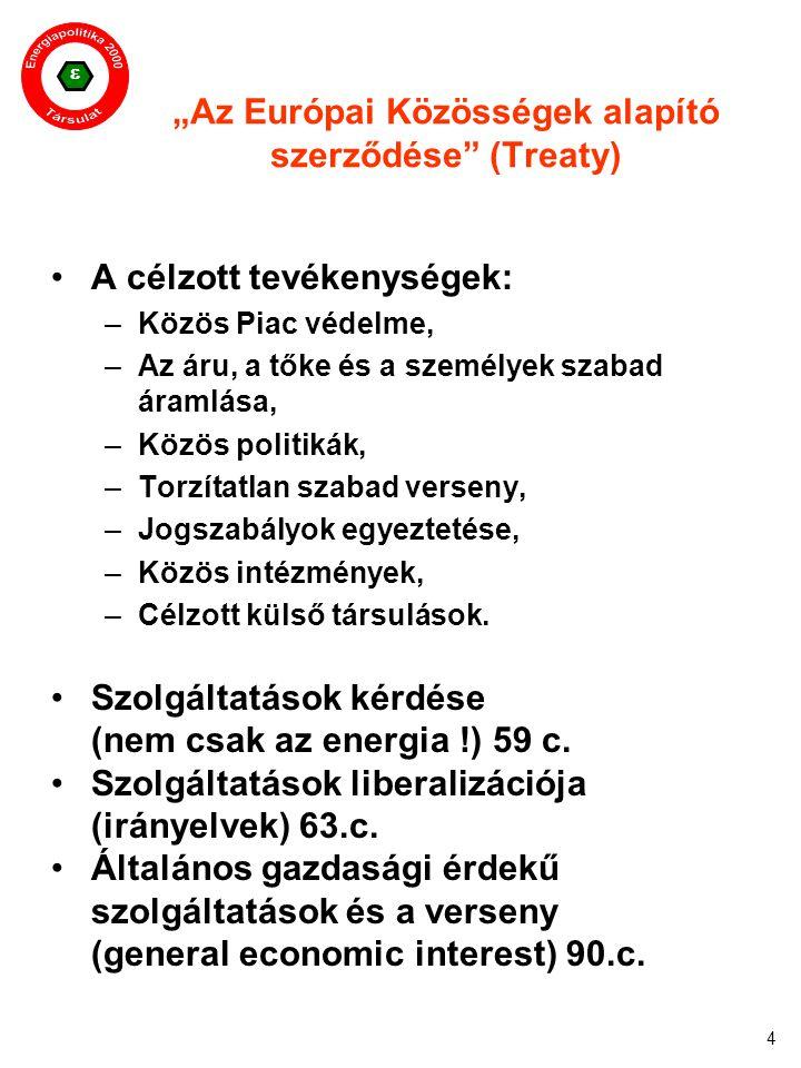 """ 4 """"Az Európai Közösségek alapító szerződése"""" (Treaty) A célzott tevékenységek: –Közös Piac védelme, –Az áru, a tőke és a személyek szabad áramlása,"""