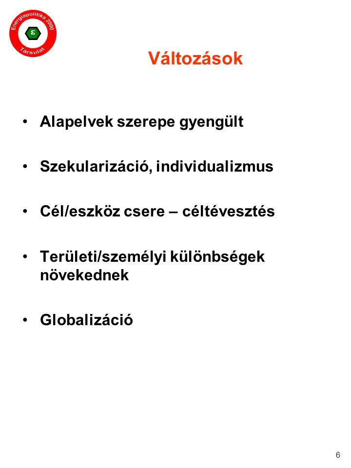  6 Változások Alapelvek szerepe gyengült Szekularizáció, individualizmus Cél/eszköz csere – céltévesztés Területi/személyi különbségek növekednek Glo