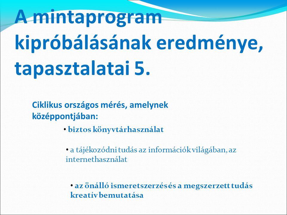 A mintaprogram kipróbálásának eredménye, tapasztalatai 5. Ciklikus országos mérés, amelynek középpontjában: biztos könyvtárhasználat a tájékozódni tud